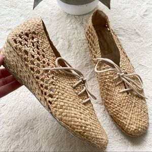Natural woven wicker lace up espadrille mini wedge shoes 8
